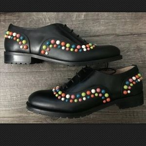 Authentic Red Valentino Stud LaceUp Oxfords 37 6.5